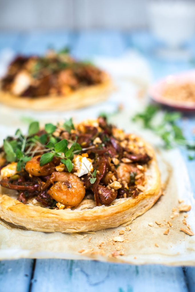 chorizo, prawn and feta tart sharon hearne-smith