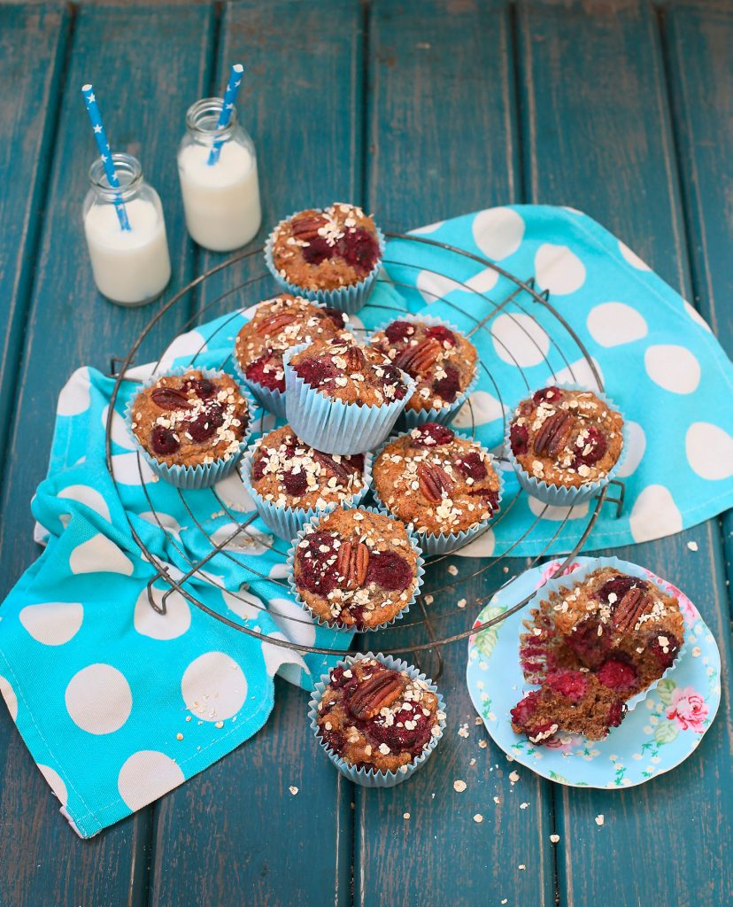 raspberry, pecan, breakfast muffins