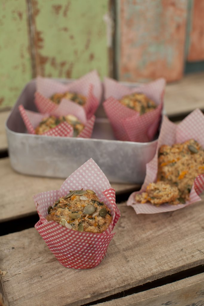 Butternut squash and kale spelt muffins