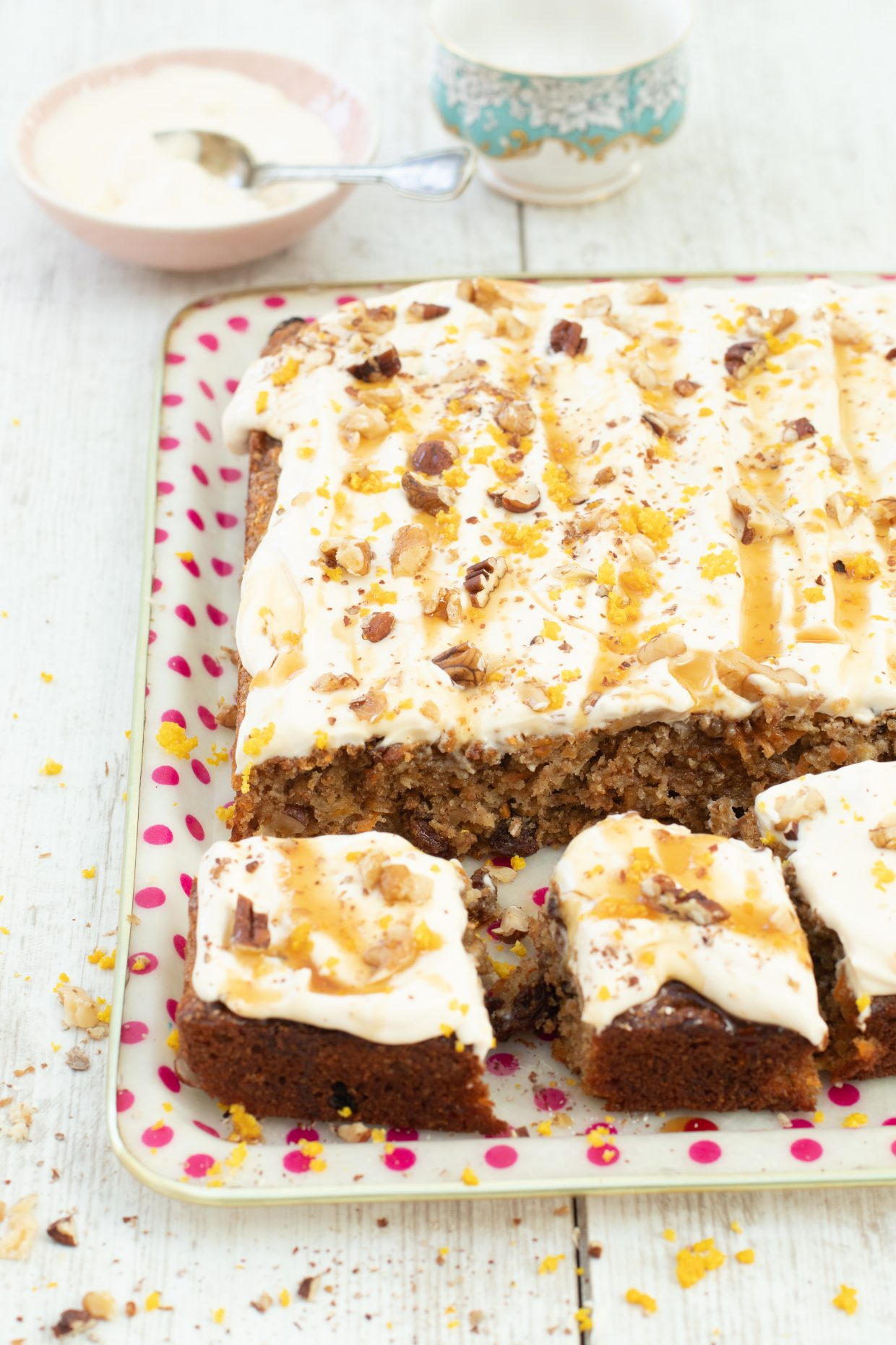 Carrot & parsnip tray bake cake with cream cheese & maple frosting